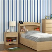 Nexera Alegria Twin Captain's Bed 3 Piece Bedroom Set in Natural Maple