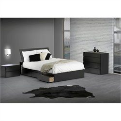 Nexera Avenue Reversible Storage 3 Piece Bedroom Set in Black