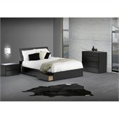 Nexera Avenue Reversible Storage 4 Piece Bedroom Set in Black