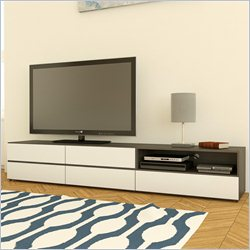 Nexera Allure 36 and 60 TV Stand in White Lacquer & Ebony