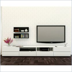 Nexera Blvd 60'' TV Stand with Decorative Wall Rectangles