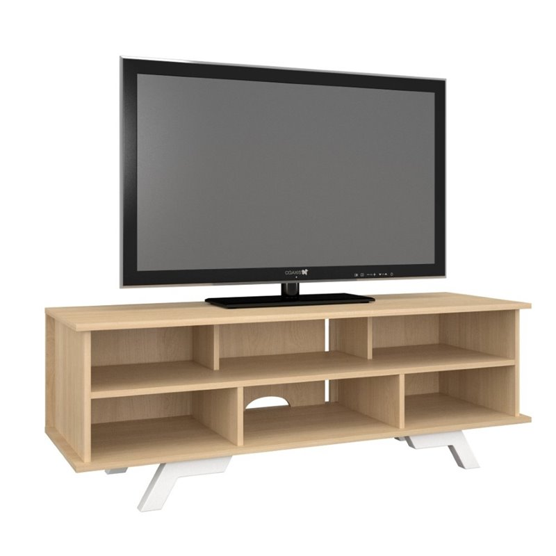 Nexera Stiletto 54 TV stand in Natural Maple and White