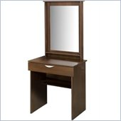 Nexera Nocce Wood Makeup Vanity Table and Mirror in Truffle Finish
