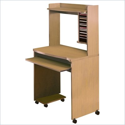 Nexera Mobile Wood Computer Cart with Hutch in Natural Maple