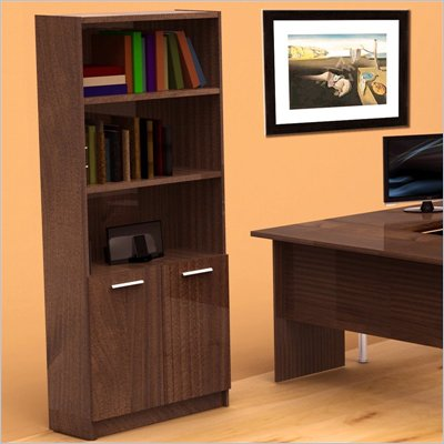 Nexera Aero Lite Bookcase with Two Doors in Truffle