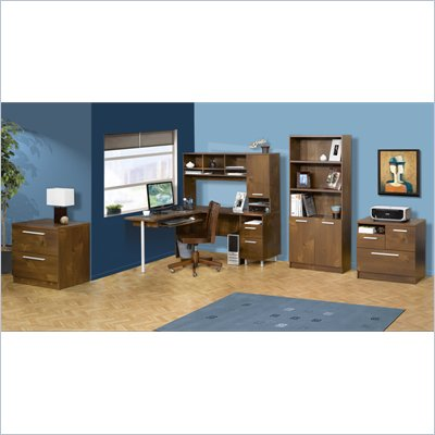 Nexera Aero Lite L-Shape Workstation Set with Hutch in Truffle