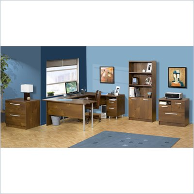Nexera Aero Lite U-Shape Workstation Set in Truffle