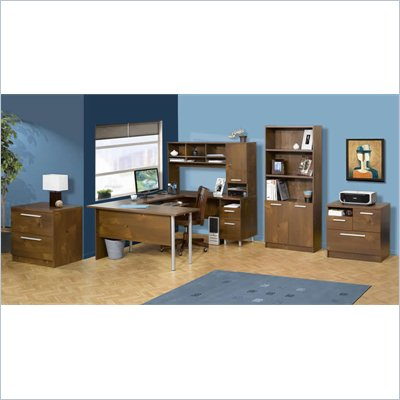 Nexera Aero Lite U-Shape Workstation Set with Hutch in Truffle