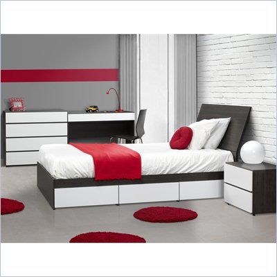 Nexera Allure 39&quot; 5-Piece Bedroom Set in Ebony
