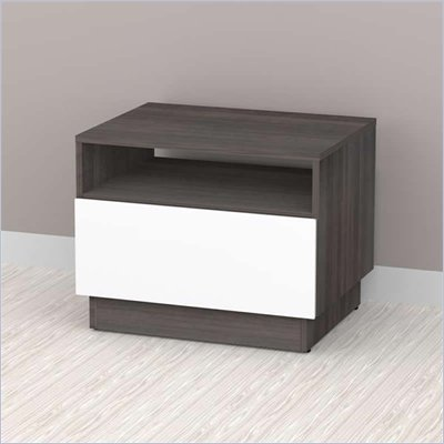 Nexera Allure End Table in White Lacquer & Ebony
