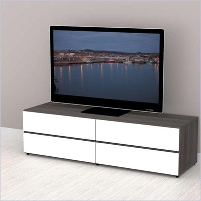 Nexera Allure 60&quot; TV Stand in White Lacquer &amp; Ebony