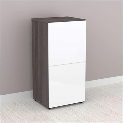 Nexera Allure 1-Door Storage Module in White Lacquer &amp; Ebony