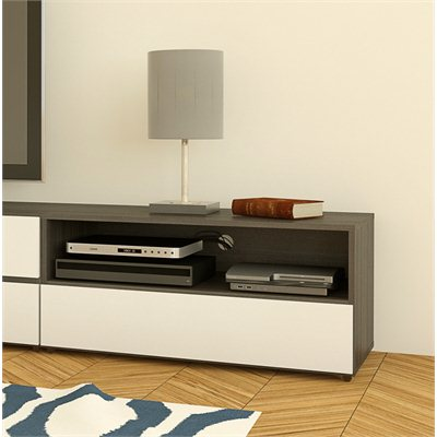 Nexera Allure 36&quot; TV Stand in White Lacquer &amp; Ebony