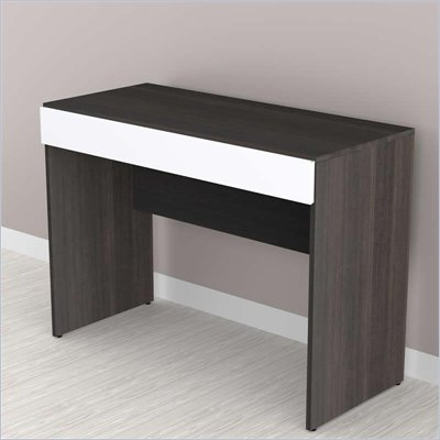 Nexera Allure 1-Storage Desk in White Lacquer &amp; Ebony