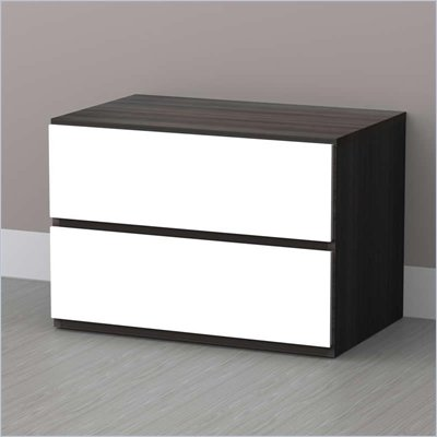 Nexera Allure Night Stand in White Lacquer &amp; Ebony