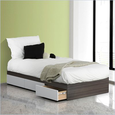 Nexera Allure 39&quot; Reversible Twin Storage Bed in White Lacquer &amp; Ebony