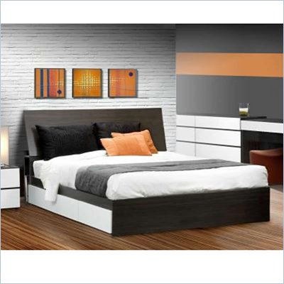 "Nexera Allure 60"" Queen Storage Bed in White Lacquer & Ebony"