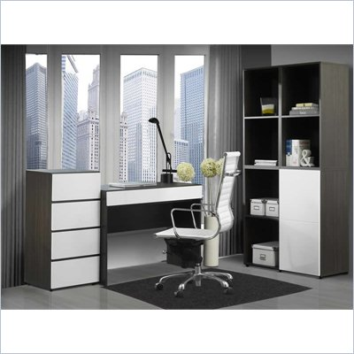 Nexera Allure 6-Piece Office Module in Ebony and White