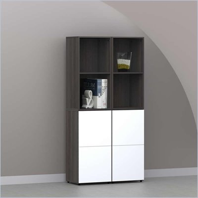 Nexera Allure 4-Piece Storage Module in Ebony and White