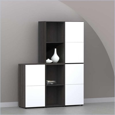 Nexera Allure 5-Piece Storage Module in Ebony and White