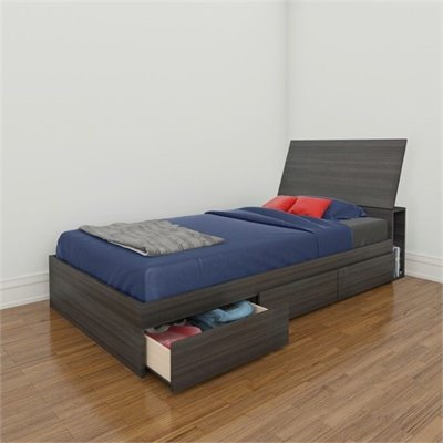 Nexera Atom 39 Reversible Storage Bed in White Lacquer and Ebony