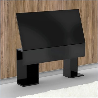 Nexera Avenue Storage Headboard in Black Lacquer & Melamine