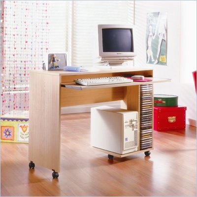 Nexera Azbi Mobile Computer Desk in Natural Maple
