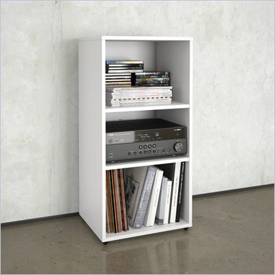 Nexera Blvd Open Storage Module in White Lacquer &amp; Melamine