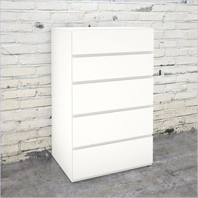 Nexera Blvd 5 Drawer Chest in White Lacquer &amp; Melamine