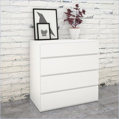 Nexera Blvd 4 Drawer Chest in White Lacquer &amp; Melamine