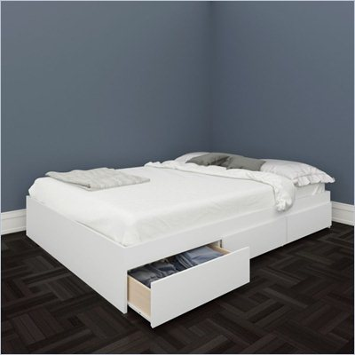 Nexera Blvd Reversible Storage Bed in White Lacquer &amp; Melamine