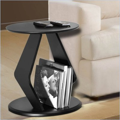 Nexera Boomerang Fine Textured Lacquer End Table in Wenge Finish