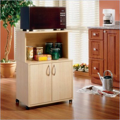 Nexera Delissio Microwave Kitchen Cart in Natural Maple