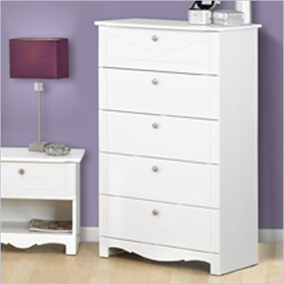 Nexera Dixie 5 Drawer Wood Chest in White