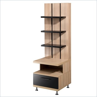 Nexera Eclipse Storage Tower in Biscotti &amp; Black Finish
