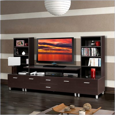 Nexera Element 56&quot; TV Stand with Wide Satellite Units in Espresso