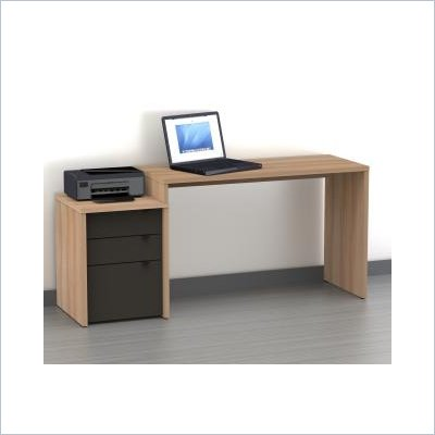 Nexera Infini-T 3 Drawer Reversible Desk in Biscotti and Espresso