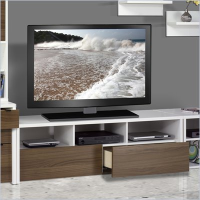 Nexera Liber-T 60&quot; 2 Drawer TV Stand in White and Walnut