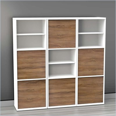 Nexera Liber-T 3-Piece Modular Storage Set in White and Walnut