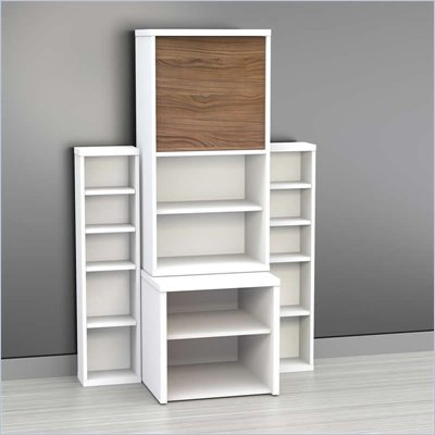 Nexera Liber-T 4-Piece Modular Storage Set in White and Walnut