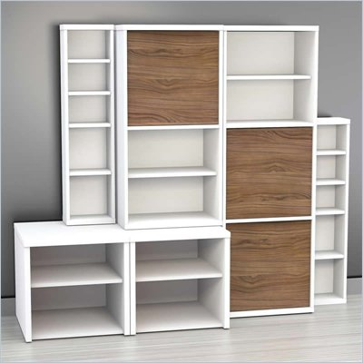 Nexera Liber-T 6-Piece Modular Storage Set in White and Walnut