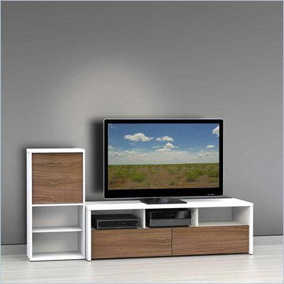 Nexera Liber-T TV Stand with Bookcase in White and Walnut
