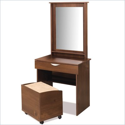 Nexera Nocce Bedroom Truffle Wood Makeup Vanity Table Set with Mirror