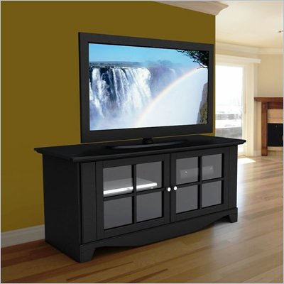"Nexera Pinnacle Black 56"" Plasma/LCD TV Stand with Doors in Black Lacquer"