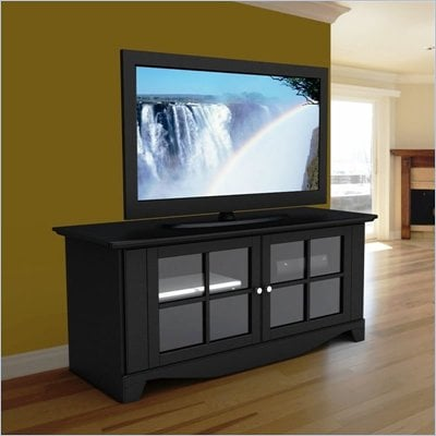 Nexera Pinnacle Black 56&quot; Plasma/LCD TV Stand with Doors in Black Lacquer