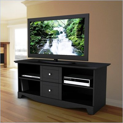 "Nexera Pinnacle 56"" Plasma/LCD TV Stand in Black Lacquer Finish"