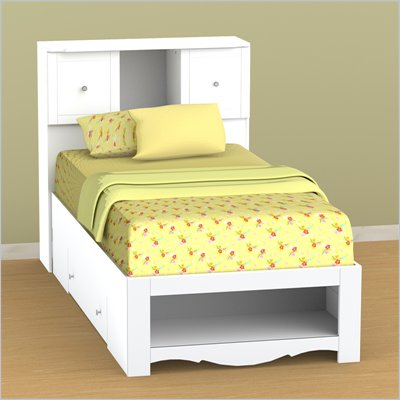 Nexera Pixel Twin Storage Bed and Low Bookcase Headboard Set in White