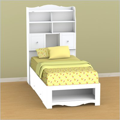 Nexera Pixel Twin Storage Bed and Tall Bookcase Headboard Set in White