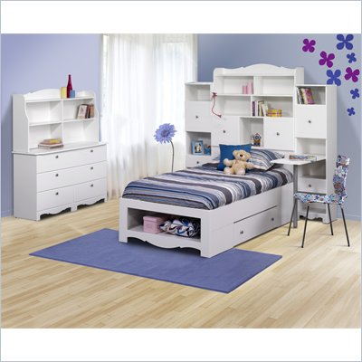 Nexera Pixel Twin Storage Bed 6 Piece Bedroom Set in White