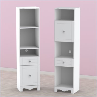 Nexera Pixel Tall Bookcase Tower in White